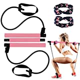 Pilates Bar Kit Portable Yoga Exercise Resistance Band Exercise, Elastic Pilates Exercise Stick,Muscle Toning Bar Home Fitness Resistance Training Gym Stretch with Foot Loop for Total Body Workout