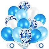 JOJOR 60 Pièces Ballon Bleu et Blanc,Ballon Gonflable Confettis Helium pour...