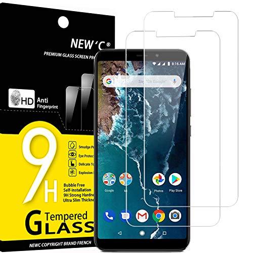 NEW'C 2 Pezzi, Vetro Temperato per Xiaomi Mi A2, Xiaomi Mi 6X, Pellicola Prottetiva Anti Graffio, Anti-Impronte, Senza Bolle, Durezza 9H, 0,33mm Ultra Trasparente, Ultra Resistente