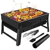 Gifort Barbecue Portable, Grill Barbecue à Charbon de Table Pliable Four Grille de Cuisson Démontable pour Barbecue de Jardin extérieur Camping pour 3-5 Personnes (Noir)