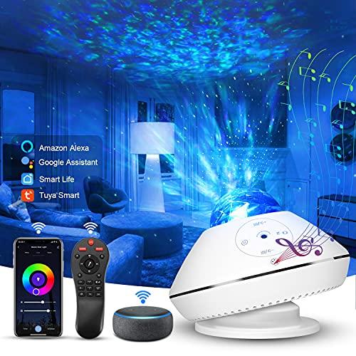 2021 LED Alexa DIY Proiettore Stelle, Domotica Intelligente Controllo Vocale, Telecomando, Regolazione Colore RGB, 43 Modalit Proiettore Galassia, WIFI Galaxy Proiettore