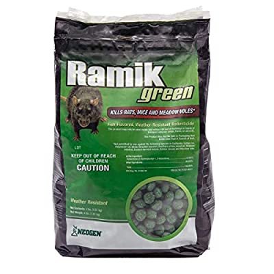 One Of A Kind: Ramik Green Rodenticide is made of 1st Generation Anticoagulant: Diphacinone (.005%) Target Rodents: Kills Rats, Mice, and Meadow Voles* Effective Results: Death may occur within 4-5 days after lethal dose is consumed Proven Formula: R...
