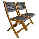 2 x Klappstuhl Stuhl klappbar Lehne bespannt Stoff Textil grau Holz Akazie FSC