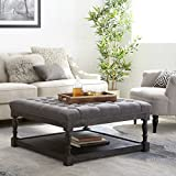 Tufted Ottoman Coffee Table Centerpiece Suitable for Living Rooms. Large Storage Bench Provides Comfort and Functionality. Grey Linen Fabric and Rustic Dark Oak Hardwood Create Modern Farmhouse Feel.