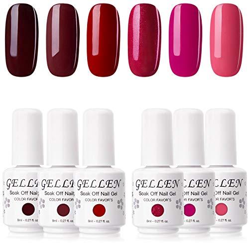 Gellen Gel Nail Polish Set - Glamour Reds Magenta Maroon Trend Nail Gel 6 Colors - Soak Off Gel Polish Nail Art Home Gel Manicure Kit