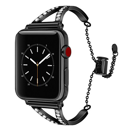 CAGOS Compatible with Apple Watch Band 42mm 44mm Women, Unique Metal Bracelet Classic Cuff Wristbands Stainless Steel Straps Replacement for Apple iWatch Series 5/4/3/2/1 (Bling-Black, 42 mm)