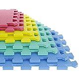 Foam Mat Floor Tiles, Interlocking EVA Foam Padding by Stalwart – Soft Flooring for Exercising, Yoga, Camping, Kids, Babies, Playroom – 8 Piece Set, Multi-Color, 12.4' X 12.4' X 0.375' (80-32321)