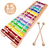 Xylophone 15 Keys Wooden Xylophone for Kids Glockenspiel Xylophone Toy Musical Instruments Preschool Learning Montesssori Toy, Child Safe Mallets, 1 2 3+ Years boy Girl Toddler Birthday