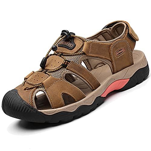 DimaiGlobal Sandalias Deportivas para Hombre Al Aire Libre Cuero Verano Playa Senderismo Zapatos Antideslizante Trekking Casual Sandalias 42EU marrón