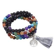 CrystalTears 108 Perlen Edelstein Yoga Armband Chakra Wickelarmband Buddha Tibetische Gebetskette Healing Reiki Stein Mala Kette Halskette mit Lebensbaum Anhänger (Lava Stein)