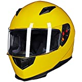 ILM Full Face Motorcycle Street Bike Helmet with Removable Winter Neck Scarf + 2 Visors DOT (L, Yellow)