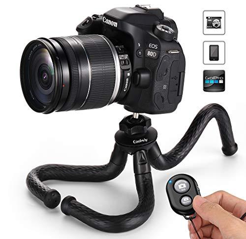 Coolway PL-180325 Mini treppiede da viaggio flessibile per fotocamera DSLR/GoPro con remoto bluetooth, portata 1,5 kg, Nero