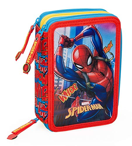 Spiderman - Astuccio Scuola 3 Zip Originale Completo di 44 Pezzi (Celeste/Giallo)