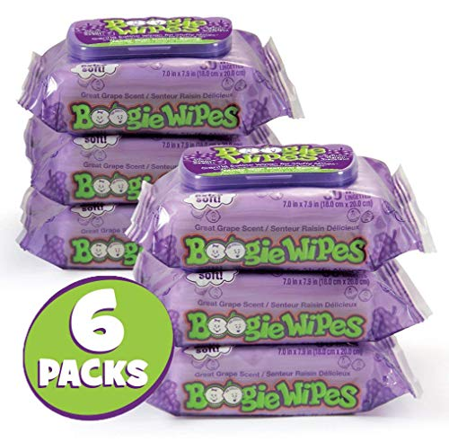 Boogie Wipes, Grape Scent Wet Nose Wipes for Kids and Baby, Allergy Relief, Soft Natural Saline Hand and Face Tissue with Aloe, Chamomile and Vitamin E, 30 Count, Pack of 6