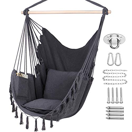 Y- STOP Hammock Chair Hanging Rope Swing, Max 330 Lbs, 2 Cushions Included-Large Macrame Hanging Chair with Pocket,...
