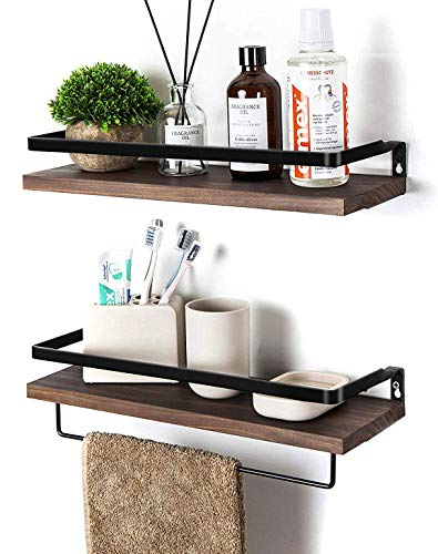 Soduku Floating Shelves Wall Mounted Storage Shelves for Kitchen, Bathroom,Set of 2 Brown