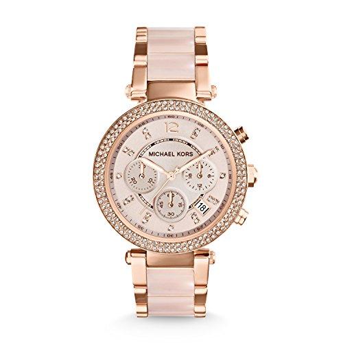 Michael Kors Damen Chronograph Quarz Uhr mit Edelstahl Armband MK5896