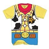 Disney Toy Story Sheriff Woody Cowboy Costume Adult T-Shirt (Large, Woody)