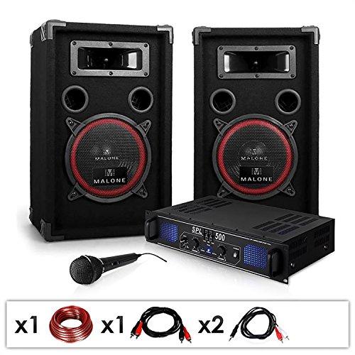 DJ set 'DJ-14' impianto audio completo PA (2 casse AUNA diffusori 1000 Watt totali, 1 amplificatore Skytec finale di potenza, 1 microfono, cavi per collegamento)