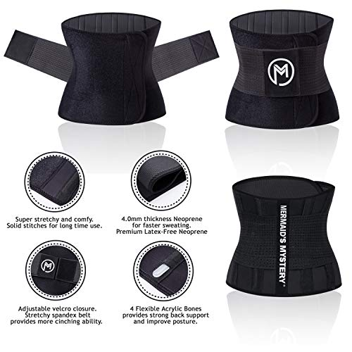 MERMAID'S MYSTERY Waist Trimmer Trainer Belt for Women Men Weight Loss Premium Neoprene Sport Sweat Workout Slimming Body Shaper Sauna Exercise 3
