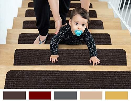 Top 11 Best Stair Treads 2020 Toolzview   Pure Era Carpet Stair Treads   Self Adhesive Bullnose   Skid Resistant   Stair Railing   Grey   Non Slip