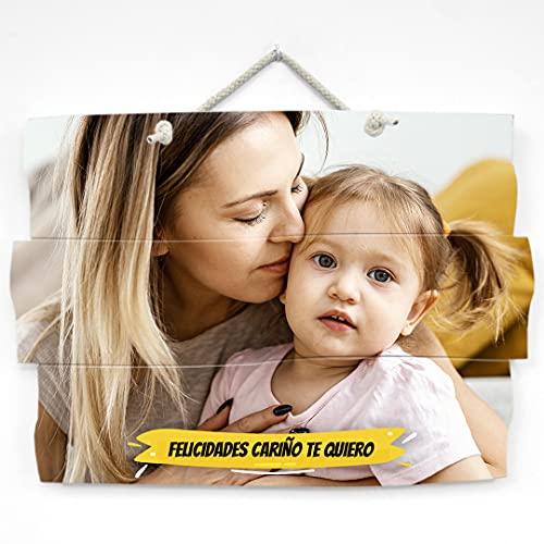 Cuadro personalizado con foto, impresión foto en madera natural con...