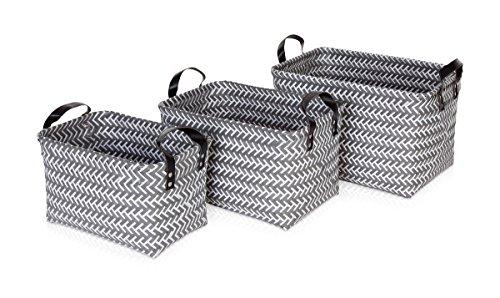 möve Weave Aufbewahrungskörbe, Geflochtener Kunststoff, Grau, 30 x 20 x 19 cm, 3
