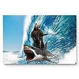 CHARMHOME Funny Shark Surfing Machine Gun Blue Waves Ocean Art Doormats Entrance Mat Floor Mat Door Mat Rug Indoor/Front Door/Bathroom Mats Rubber Non Slip 18 x 30 inch