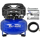 BILT HARD Air Compressor, 6 Gallon, 150 PSI 1.5HP, Oil Free, 2.6CFM@90PSI, with 25ft Air Hose and 17-Piece Coupling connectors Kit, Portable Small Pancake Compressor with 2 Quick Couplers