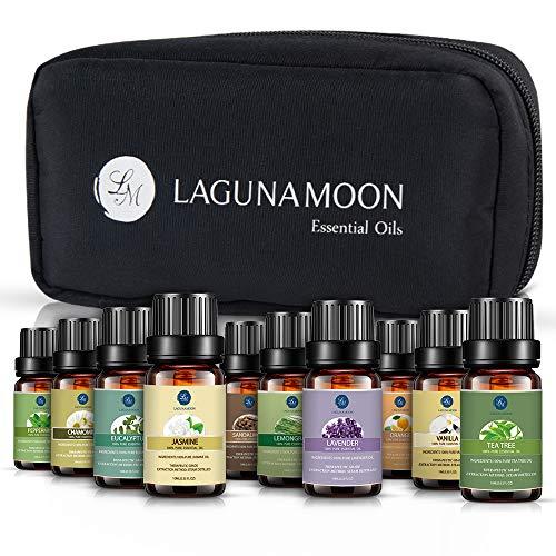 Lagunamoon Essential Oils with Travel Bag, Top 10 Pure Aromatherapy Oils Tea Tree Lavender Peppermint Eucalyptus Sandalwood Lemongrass Orange Chamomile Jasmine Vetiver