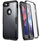 YOUMAKER Case for iPhone 8 Plus & iPhone 7 Plus, Full Body Rugged with Built-in Screen Protector Heavy Duty Protection Slim Fit Shockproof Cover for Apple iPhone 8 Plus (2017) 5.5 Inch - Black