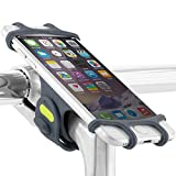 "Bone Universal Bike Phone Mount, 2-in-1 Silicone Bicycle Phone Holder, Universal Motorcycle Stem Mount Compatible for iPhone Xs/X/8/7/6s, Galaxy S8/S7/S6, 4.0""-6.0"" Phones, Bike Tie Pro - Dark Blue"