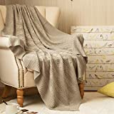 jinchan Throw Blanket Taupe Lightweight Cable Knit Sweater Style Year Round Gift Indoor Outdoor Travel Accent Throw for Sofa Comforter Couch Bed Recliner Living Room Bedroom Decor 50' x 60'