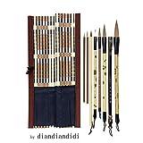Pinceaux Chinois pour Calligraphie Débutant et Peinture Kanji Japonais (8...