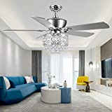 Tropwellhouse 52Inch Crystal Ceiling Fan with Lights 3 Speed Remote Control Elegant Crystal 5 Wood Baldes Chrome Ceiling Fan Decoration Home
