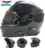 Vcan V271BLINC Bluetooth con tapa frontal casco nuevo moto MP3GPS FM de comunicación de Modular casco negro mate con Kit para el cuidado y pasamontañas negro negro small