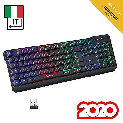 KLIM Chroma Tastiera Wireless ITALIANA - Sottile, Resistente, Ergonomica + Tastiera Gaming Retroilluminata Silenziosa e Impermeabile + Tastiera PC Mac PS4 Xbox + NUOVA VERSIONE 2020 + Nera