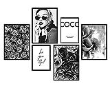 bilderreich Premium Poster Set Coco Blanco y Negro | Deko Cuadros Salón Moderno...