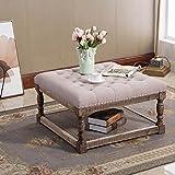 Warehouse of Tiffany Cairona 30' Shelved Ottoman in Light Gray Tufted Fabric