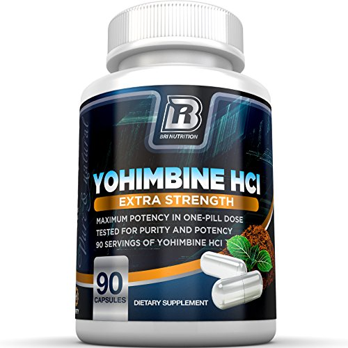 BRI Nutrition Yohimbine HCI - 2.5mg Yohimbe HCL Supplement Natural Metabolism Booster for Fat Burning, Weight Loss and Enhanced Performance 90 Vegetable Cellulose Capsules