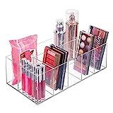 Organizador de cosméticos mDesign - Caja con 6 compartimentos para ordenar maquillaje, botellas y más ...