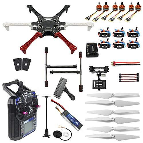 FEICHAO Kit Drone Fai-da-Te F550 Hexa-Rotor Air Frame GPS APM2.8 Bussola incorporata con Controller FS-i6 Telecamera Gimbal PTZ Kit Drone Fai-da-Te RTF