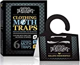 Dr. Killigan's Premium Clothing Moth Traps with Pheromones Prime | Non-Toxic Clothes Moth Trap with Lure for Closets & Carpet | Moth Treatment & Prevention | Case Making & Web Spinning (6, BLK)