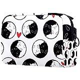 Kit de Maquillaje Neceser Makeup Bolso de Cosméticos Portable Organizador Maletín para Maquillaje Maleta de Makeup Profesional Gato Redondo Blanco y Negro 18.5x7.5x13cm
