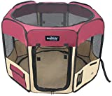 EliteField 2-Door Soft Pet Playpen, Exercise Pen, Multiple Sizes and Colors Available for Dogs, Cats and Other Pets (48' x 48' x 32'H, Maroon+Beige)