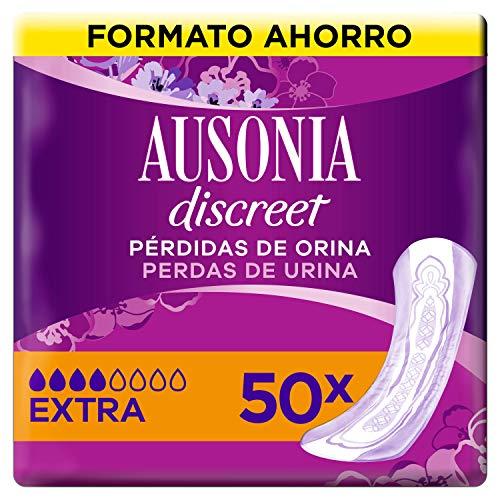 Ausonia Discreet Compresas Incontinencia Mujer, Plus Extra, 50 Unidades para Pérdidas Orinas y Vejigas Hiperactivas