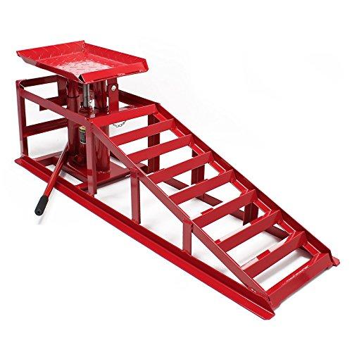 Wiltec Auffahrrampe mit hydraulischem Wagenheber 2000kg höhenverstellbar Reifenbreite bis 225mm