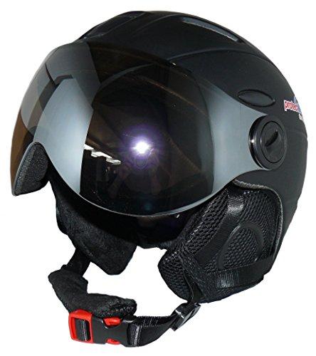 protectWEAR Skihelm MS95 schwarz matt mit Zwei Visieren klappbar - M