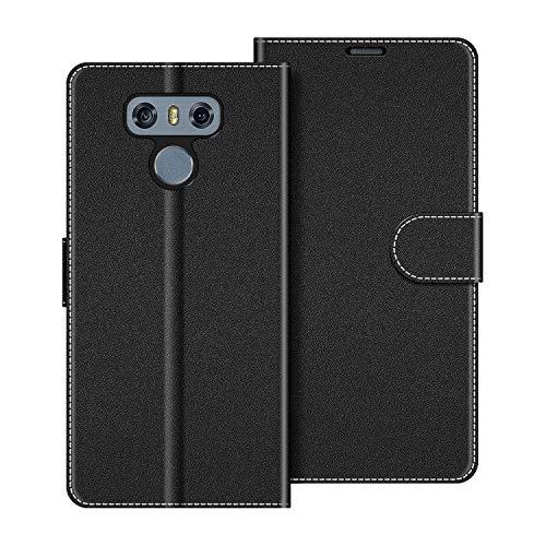 COODIO Custodia per LG G6, Custodia in Pelle LG G6, Cover a Libro LG G6 Magnetica Portafoglio per LG G6 Cover, Nero