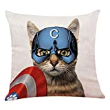 "yuzi-n Captain Cat America Throw Pillow Covers, Cushion Cover for Sofa Couch Decor Home Decor 18""x 18""Inch, Funny Cat Decor"